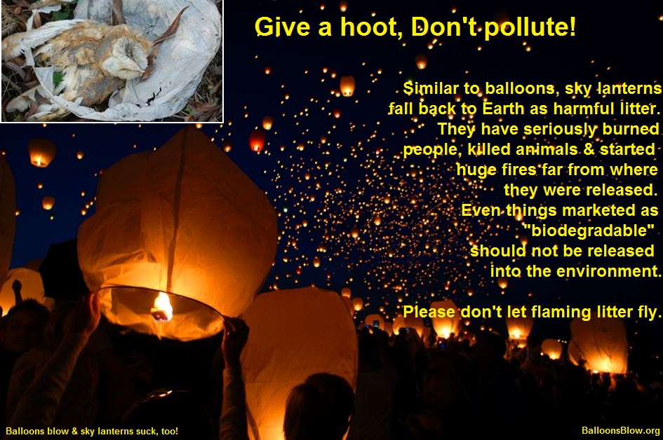 Sky lantern not a balloon but equally dangerous