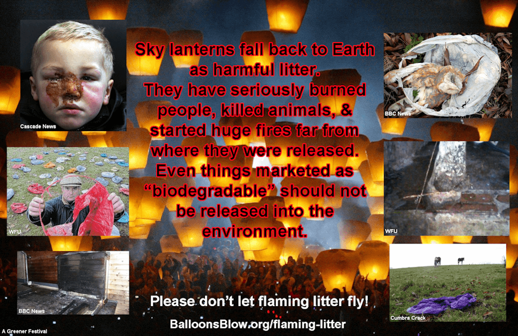 Sky Lanterns Flaming Litter Balloons Blow