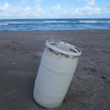 35 gallon plastic drum washed ashore