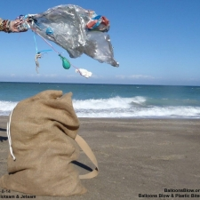 Balloons littering beach