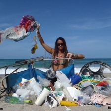 Balloons, plastic, netting, beach chair and styrofoam cleaned up off beach