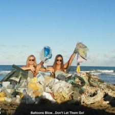 Lot of balloons, big containers, plastic and styrofoam...all from the ocean.