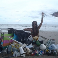 Chairs, balls, styrofoam, rope, bottle caps, balloons, plastic items cleaned up on beach