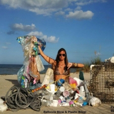 Plastic, balloons, fishing gear, rope and styrofoam washed ashore - pollution