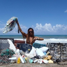 Beach cleanup fishing gear, rope, single-use plastic, plastic crates and balloons 7-6-13