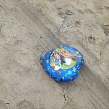 Happy Birthday Mylar balloon polluting Bradly Beach, New Jersey