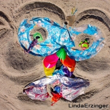 Mylar balloon pollution on beach