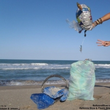 Plastic Pollution and balloons on beach