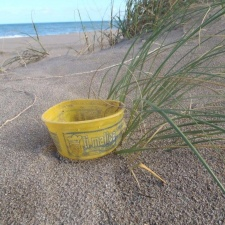 Plastic container washed ashore from Haiti