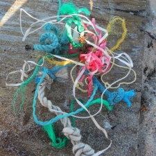 Ribbons and Rope polluting beach