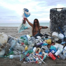 Pile of plastic, balloons and other beach debris