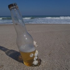 Beer bottle with barnacles