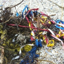 pile of latex balloons and ribbon caught in seaweed on beach