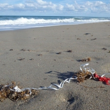 latex balloon and ribbon litter on beach