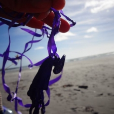 latex balloon with ribbon polluting Inchydoney beach, Ireland