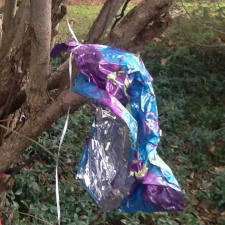 mylar balloon with string hanging in tree