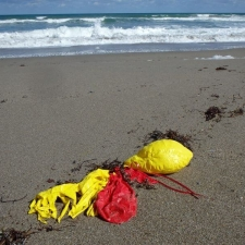 balloon bouquet polluting beach