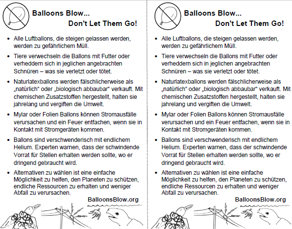 German Balloons Blow Fact Sheets - Short