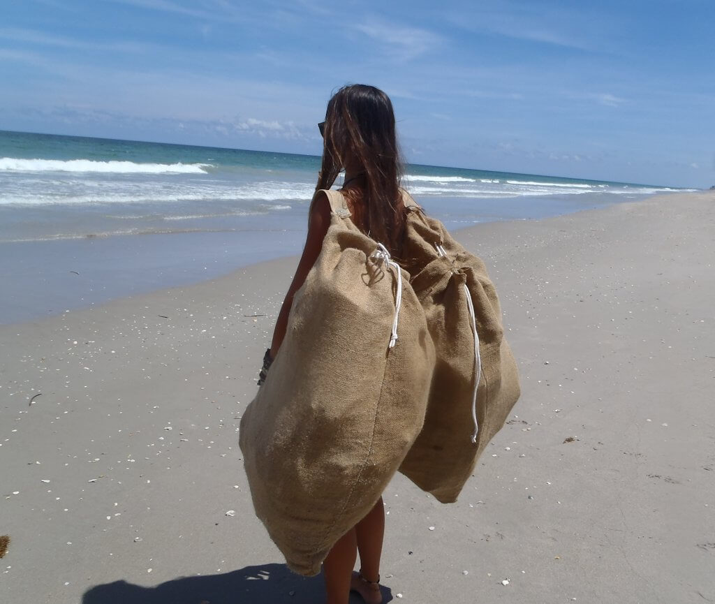 Burlap Bag - Clean Up the Beach