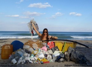 plastic containers, styrofoam, toys and balloons washed ashore