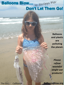 The Girl always finds balloons polluting Cali beaches.