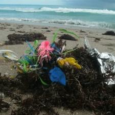 Latex Balloons and Mylar Balloon pile on beach