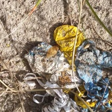 Balloon trash on beach