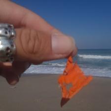 piece of latex balloon on beach