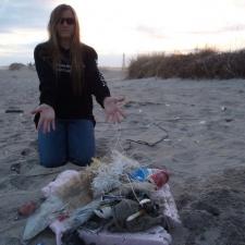 Netting, fishing line, scarf, plastic pollution
