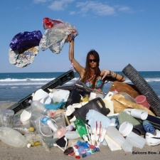 Balloons, plastic, styrofoam and other beach debris