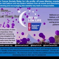 American Cancer Society Relay for Life litters the planet and kills wildlife with balloon releases - Relay for Life