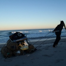 Hauling away beach pollution and debris