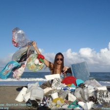 Balloons, single-use plastic bottles, plastic containers and styrofoam washed ashore