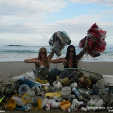 balloons, plastic conterns, rope and more debris