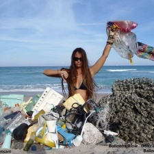 Single-use plastic, balloons, styrofoam and other debris