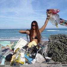 Single-use plastic, balloons, styrofoam and other debris