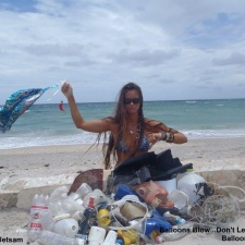 Plastic, balloons, fishing line and styrofoam on beach