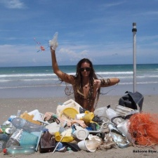 Plastic pollution and balloons on the beach
