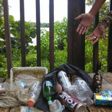 Beer and Aluminum cans, tin tray, plastic bottles and debris