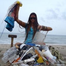 balloons, plastic, a hammer and rope cleaned from beach