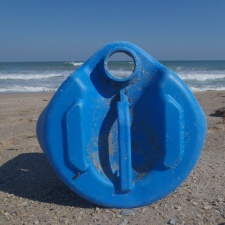 Blue Plastic Container on BeachBlue Plastic Container on Beach