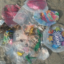 9 latex, 6 mylar balloons littering beach