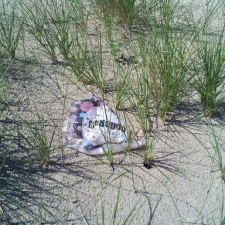 mylar balloon on beach
