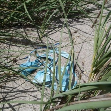 mylar balloon in seagrass