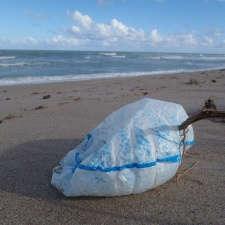 semi-inflated balloon on beach