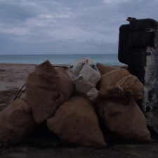 Burlap Bags filled with beach debris