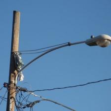 Mylar balloon caught on street light post