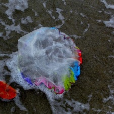 Mylar balloon washing ashore