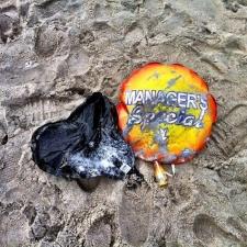 Mylar balloons polluting Bradley Beach, New Jersey