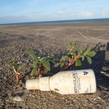 Plastic Bottle from Venezuela trash on Florida seashore